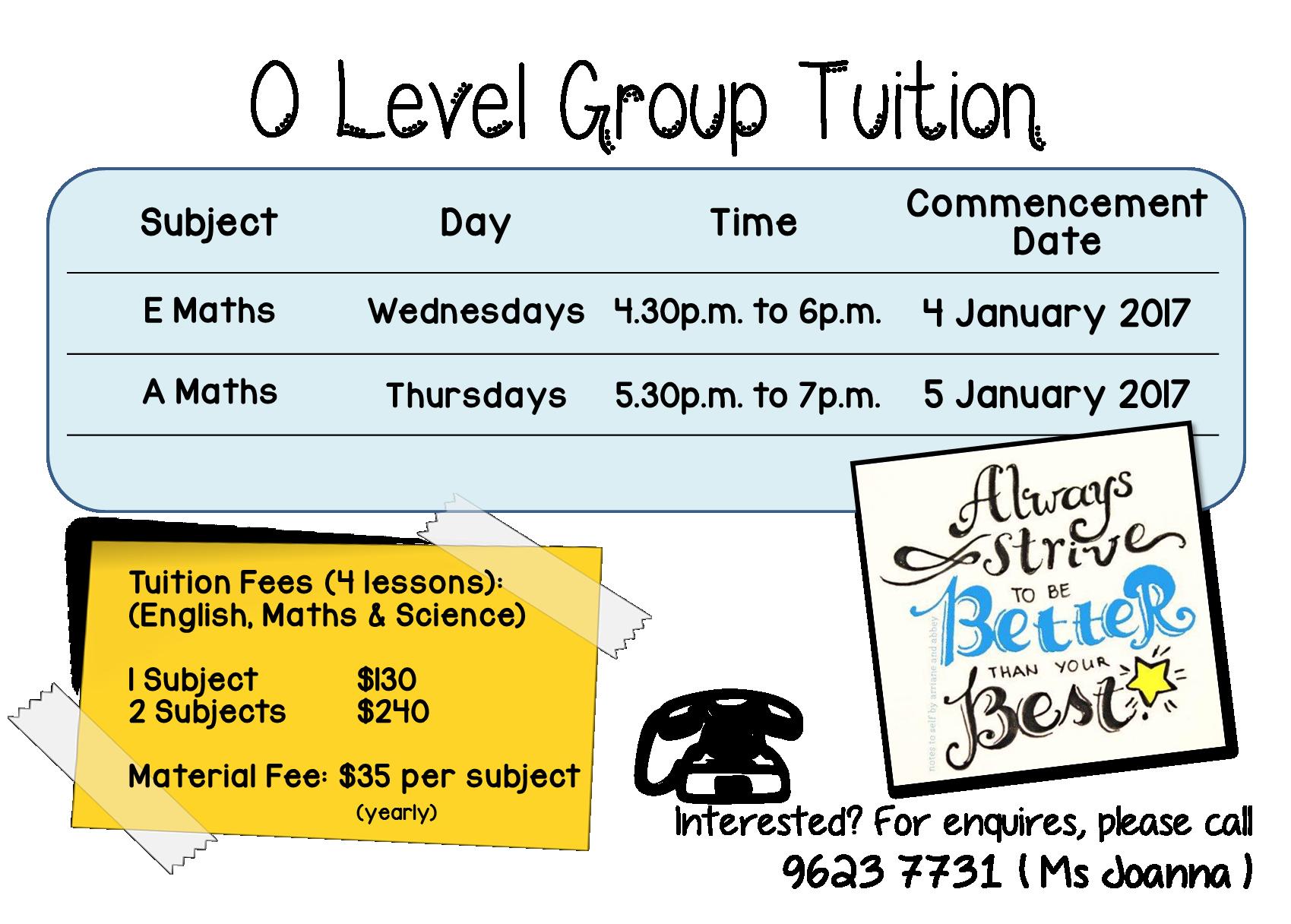 O Level A Maths Tuition (2017)