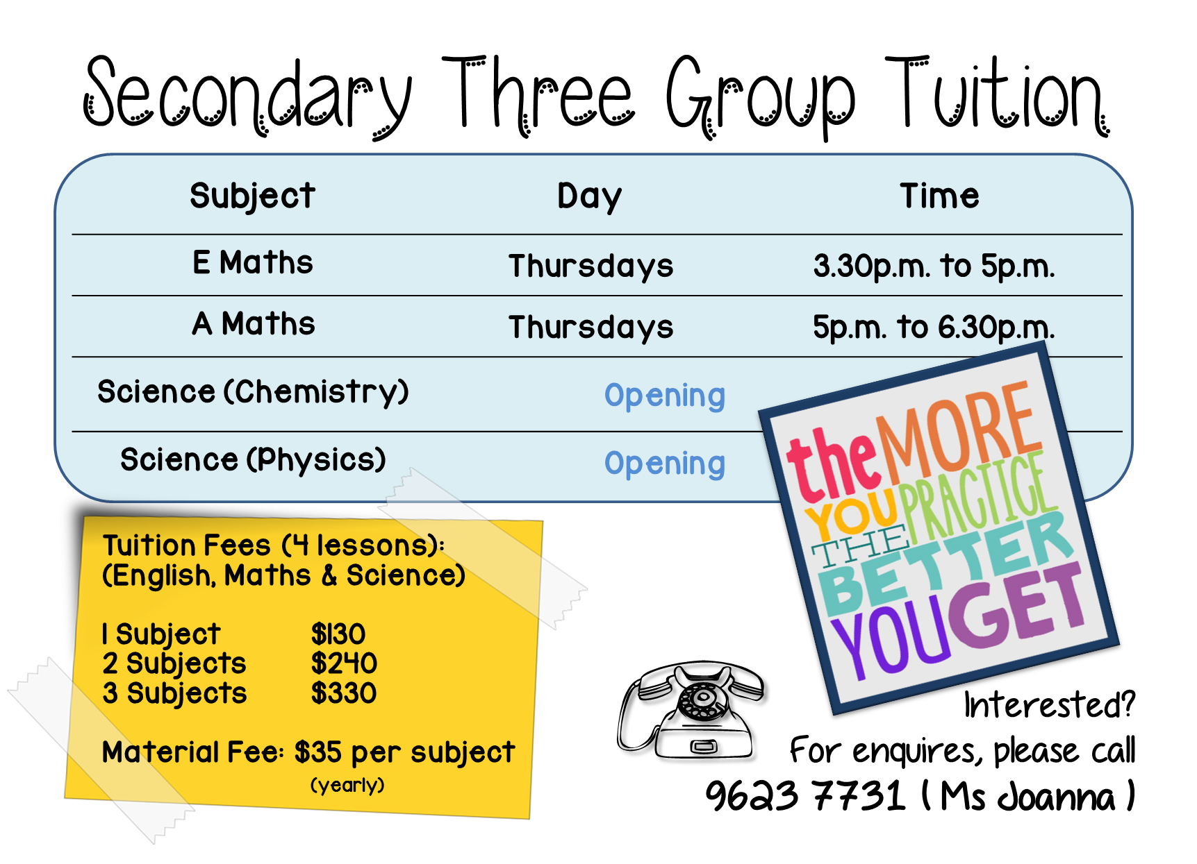 Sec 3 A Maths Group Tuition (2017)